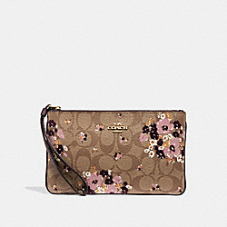 LARGE WRISTLET IN SIGNATURE CANVAS WITH FLORAL FLOCKING - F31770 - KHAKI MULTI /LIGHT GOLD
