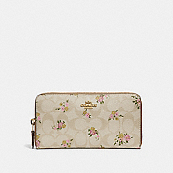 COACH F31778 Accordion Zip Wallet In Signature Canvas With Daisy Bundle Print LIGHT KHAKI/MULTI/IMITATION GOLD