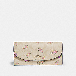COACH F31779 Slim Envelope Wallet In Signature Canvas With Daisy Bundle Print LIGHT KHAKI/MULTI/IMITATION GOLD