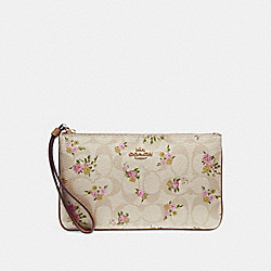 LARGE WRISTLET IN SIGNATURE CANVAS WITH DAISY BUNDLE PRINT - f31784 - light khaki/multi/imitation gold