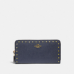 ACCORDION ZIP WALLET WITH RIVETS - F31810 - MIDNIGHT NAVY/BRASS