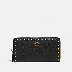 COACH F31810 Accordion Zip Wallet With Rivets BLACK/BRASS