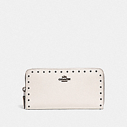 COACH F31810 Accordion Zip Wallet With Rivets CHALK/BLACK COPPER