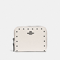 COACH F31811 Small Zip Around Wallet With Rivets CHALK/BLACK COPPER