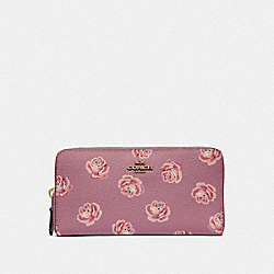 COACH F31823 - ACCORDION ZIP WALLET WITH ROSE PRINT B4/ROSE ROSE PRINT