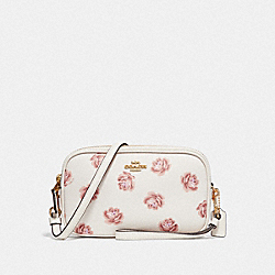 COACH F31826 Sadie Crossbody Clutch With Rose Print CHALK ROSE PRINT/LIGHT GOLD
