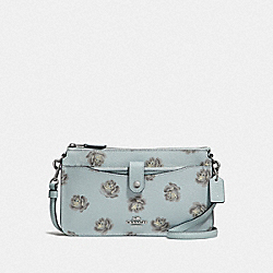 NOA POP-UP MESSENGER WITH ROSE PRINT - F31829 - SKY ROSE PRINT/SILVER