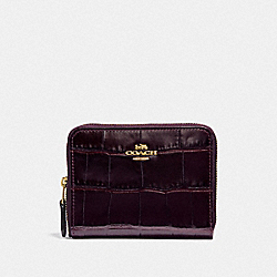 COACH F31831 Small Zip Around Wallet PLUM/LIGHT GOLD