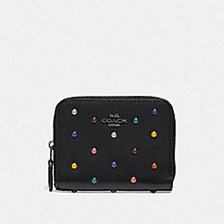 COACH F31839 Small Zip Around Wallet With Rainbow Rivets BLACK/DARK GUNMETAL