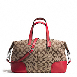 COACH F31841 - HADLEY SIGNATURE ZIP SATCHEL SILVER/KHAKI/BRIGHT RED
