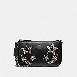 COACH F31870 Nolita Wristlet 19 With Crystal Embellishment BLACK/DARK GUNMETAL