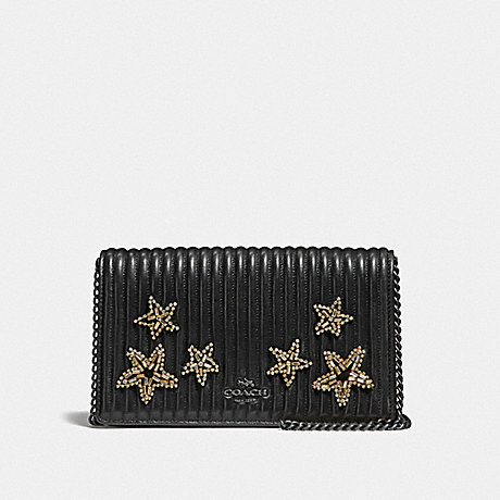 COACH F31871 CALLIE FOLDOVER CHAIN CLUTCH WITH QUILTING AND CRYSTAL EMBELLISHMENT BP/BLACK