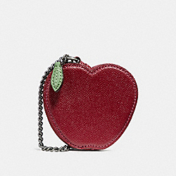 COACH F31876 - APPLE COIN CASE RED MULTI/BLACK ANTIQUE NICKEL