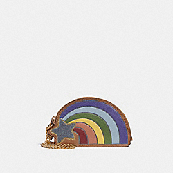 COACH F31889 - RAINBOW COIN CASE MULTICOLOR/LIGHT GOLD