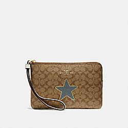 COACH F31890 Corner Zip Wristlet In Signature Canvas With Star KHAKI MULTI /LIGHT GOLD