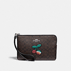 CORNER ZIP WRISTLET IN SIGNATURE CANVAS WITH CHERRY - f31891 - brown black/multi/silver