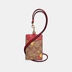 COACH F31899 - ID LANYARD IN SIGNATURE CANVAS WITH CHERRY PRINT KHAKI MULTI /LIGHT GOLD