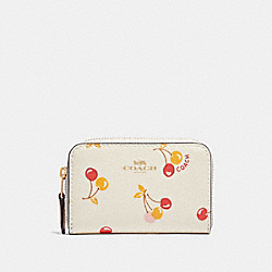 COACH F31900 - ZIP AROUND COIN CASE WITH CHERRY PRINT CHALK MULTI/LIGHT GOLD
