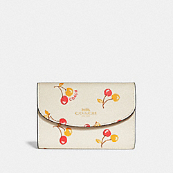 COACH F31905 - KEY CASE WITH CHERRY PRINT CHALK MULTI/LIGHT GOLD