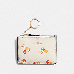 COACH F31906 - MINI SKINNY ID CASE WITH CHERRY PRINT CHALK MULTI/LIGHT GOLD