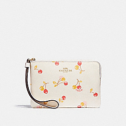 CORNER ZIP WRISTLET WITH CHERRY PRINT - f31907 - CHALK MULTI/light gold