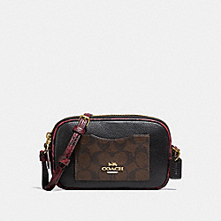 COACH F31910 - CROSSBODY POUCH IN SIGNATURE CANVAS COLORBLOCK BROWN/BLACK/LIGHT GOLD