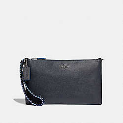 COACH F31911 Large Wristlet 25 With Rainbow Whipstitch MIDNIGHT NAVY/SILVER