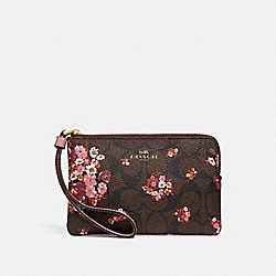 CORNER ZIP WRISTLET IN SIGNATURE CANVAS WITH MEDLEY BOUQUET PRINT - f31914 - BROWN MULTI/light gold
