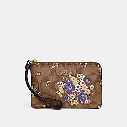 CORNER ZIP WRISTLET IN SIGNATURE CANVAS WITH MEDLEY BOUQUET PRINT - f31914 - KHAKI MULTI /light gold