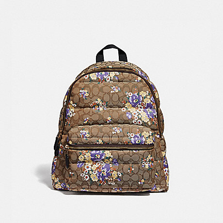 COACH F31915 CHARLIE BACKPACK IN SIGNATURE QUILTED NYLON WITH BABY BOUQUET PRINT LIGHT-KHAKI/MULTI/LIGHT-GOLD