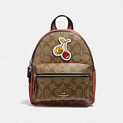 MINI CHARLIE BACKPACK IN SIGNATURE CANVAS WITH CHERRY PATCH - f31933 - SILVER/LIGHT KHAKI MULTI