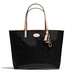 COACH F31944 Metro Embossed Leather Tote SILVER/BLACK