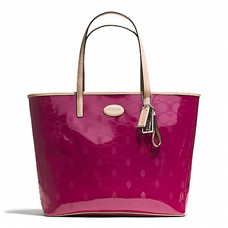 COACH f31944 METRO EMBOSSED LEATHER TOTE SILVER/CRANBERRY