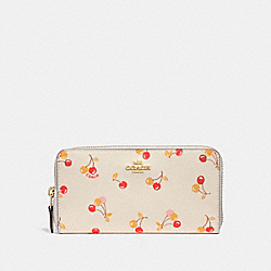 COACH F31947 Accordion Zip Wallet With Cherry Print CHALK MULTI/LIGHT GOLD