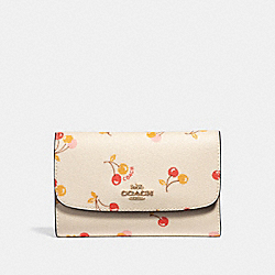 COACH F31948 Medium Envelope Wallet With Cherry Print CHALK MULTI/LIGHT GOLD