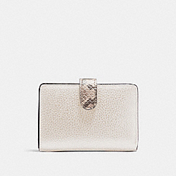 COACH F31949 Medium Corner Zip Wallet In Colorblock Signature Canvas LIGHT KHAKI/CHALK/GOLD