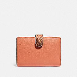 COACH F31949 Medium Corner Zip Wallet In Colorblock Signature Canvas LIGHT CORAL/MULTI/GOLD