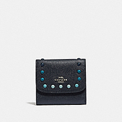 COACH F31950 Small Wallet With Rainbow Rivets MIDNIGHT NAVY/SILVER