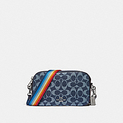 ISLA CHAIN CROSSBODY IN SIGNATURE DENIM WITH CHERRY PRINT - f31953 - DENIM/MULTI/SILVER