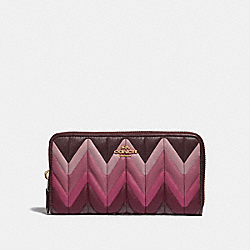 COACH F31954 Accordion Zip Wallet With Ombre Quilting OXBLOOD MULTI/LIGHT GOLD