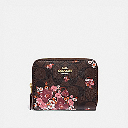 COACH F31955 Small Zip Around Wallet In Signature Canvas With Medley Bouquet Print BROWN MULTI/LIGHT GOLD