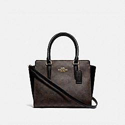 LEAH SATCHEL IN SIGNATURE CANVAS - F31957 - BROWN/BLACK/GOLD