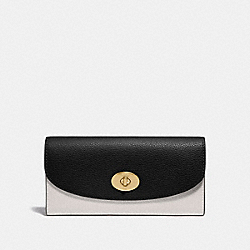 COACH SLIM ENVELOPE WALLET IN COLORBLOCK - CHALK/BLACK MULTI/LIGHT GOLD - F31967