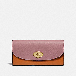 COACH F31967 Slim Envelope Wallet In Colorblock DUSTY ROSE/ORANGE MULTI /LIGHT GOLD