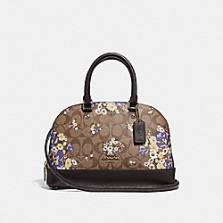 MINI SIERRA SATCHEL IN SIGNATURE CANVAS WITH MEDLEY BOUQUET PRINT - f31968 - KHAKI MULTI /light gold