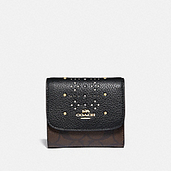 COACH F31969 Small Wallet In Signature Canvas With Rivets BROWN BLACK/MULTI/LIGHT GOLD