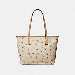 CITY ZIP TOTE WITH CHERRY PRINT - f31971 - CHALK MULTI/light gold