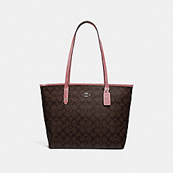 COACH F31974 City Zip Tote In Signature Canvas BROWN/DUSTY ROSE/SILVER