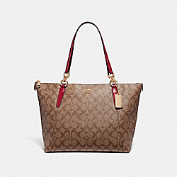 COACH F31976 Ava Tote In Signature Canvas KHAKI/TRUE RED/LIGHT GOLD