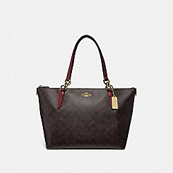 AVA TOTE IN SIGNATURE CANVAS - F31976 - IM/BROWN/WINE